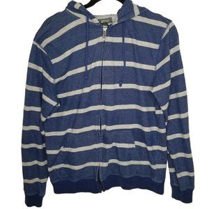 Kenneth Cole Reaction Hoodie Blue Gray Stripe Hood